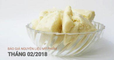 báo giá nguyên liệu mỹ phẩm tháng 02-2018
